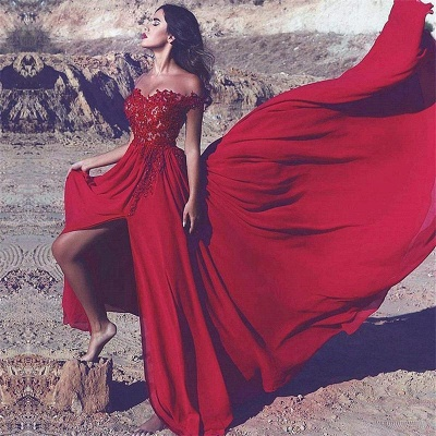 Lace Appliques Off-the-Shoulder Red Split Long Prom Dress_3