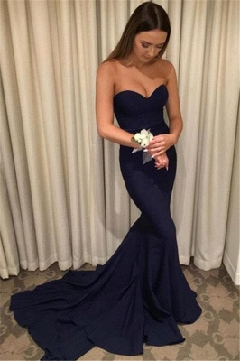 Simple Navy Blue Evening Gowns | Sweetheart Neck Mermaid Bridesmaid Dress_2