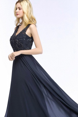 Straps V-neck A-line Simple Formal Gown for Prom And Bridesmaid_53