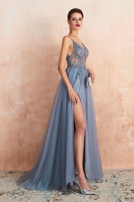Sexy Spaghetti Straps Sheer A-line Tulle Prom Dresses with Side Slit_24
