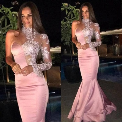Gorgeous One-Shoulder Prom Dresses   High-Neck Lace Mermaid Evening Dress_2