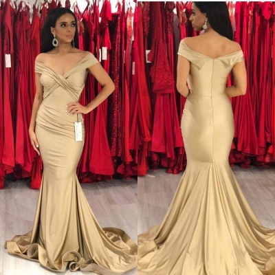 Off the Shoulder Sleek Fit and Flare Prom Dresses | Long Silky Evening Dresses_3