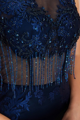 Luxury Dark Navy Applique Beaded Floor Length Mermaid Prom Dresses |Fitted Cheap Evening Dresses_9