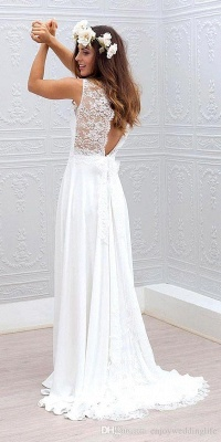 Summer Beach A-line Wedding Dresses | White Lace Chiffon Bowknot Bridal Gowns_3