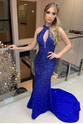 High Neck Sweep Train Keyhole Form-fitting Prom Dresses | Royal Blue Evening Dresses_1