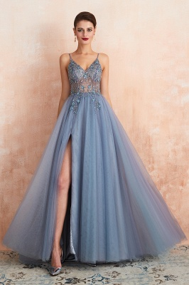 Sexy Spaghetti Straps Sheer A-line Tulle Prom Dresses with Side Slit_8