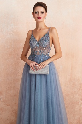 Sexy Spaghetti Straps Sheer A-line Tulle Prom Dresses with Side Slit_19