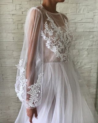 Jewel Long Sleeves Sheer A-line Long Prom Dresses in Pink_3