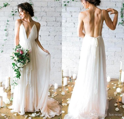 V-Neck Beach Chiffon Sleeveless Long Elegant Wedding Dress_3