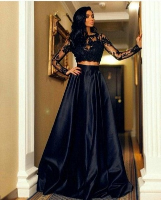 Two-Piece Lace A-line Modern Long-Sleeve Black Prom Dress_3