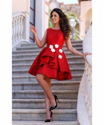 Sleeveless Red Flowers Sexy Short Homecoming Dress_2