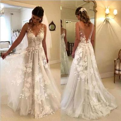 Elegant A-line Wedding Dresses | V-Neck Rose Appliques Backless Bridal Gowns_3