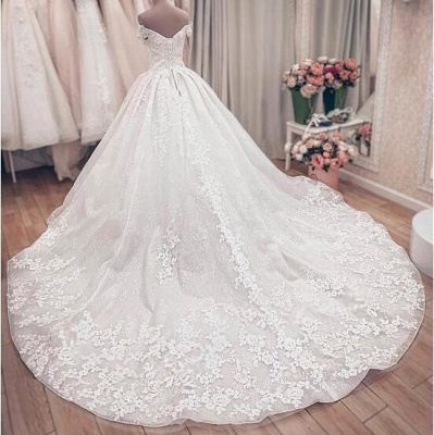 Princess Off The Shoulder Sweetheart  Applique Puffy Ball Gown Wedding Dresses_5