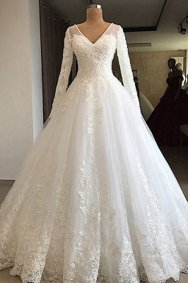 Graceful V Neck Long Sleeve Lace Wedding Dress |  Applique  A Line Bridal Gown
