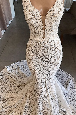 Sexy Straps V Neck Backless Lace Mermaid Wedding Dress_4