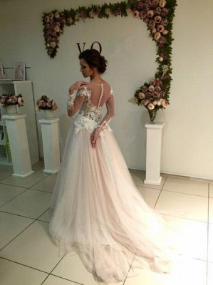 A-line Tulle Appliques Delicate Sweep-Train Lace Long-Sleeve Bridal Dress_2