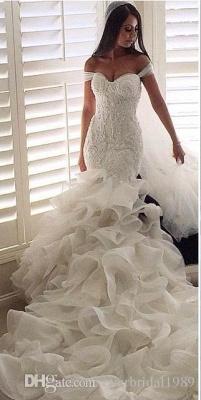 Elegant Crystal Ruffles Mermaid Sweetheart Wedding Dresses_4