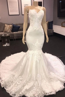 Sexy Sweetheart Applique Lace Fitted Mermaid Wedding Dress_1
