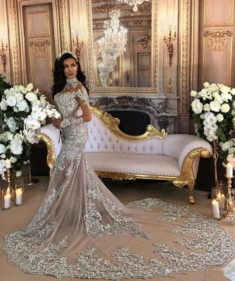 Luxury Silver Mermaid Wedding Dresses | Long Sleeves Lace High Neck Bridal Gowns_6