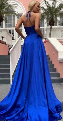 Sexy Spaghetti Straps V-neck Silky Prom Dresses with High Slit in Royal Blue_5