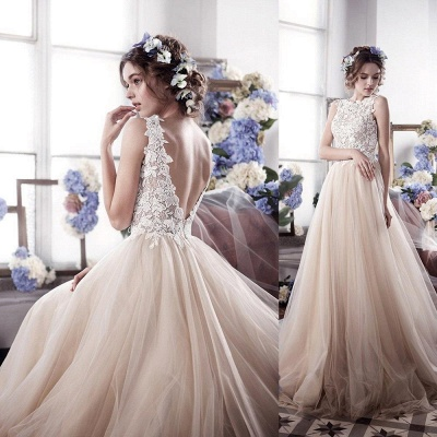 Vintage Tulle Appliques Bridal Gowns Sleeveless Romantic Wedding Dresses_4