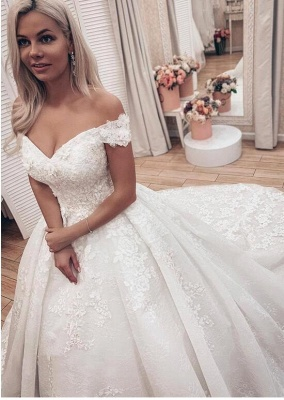 Princess Off The Shoulder Sweetheart  Applique Puffy Ball Gown Wedding Dresses_3