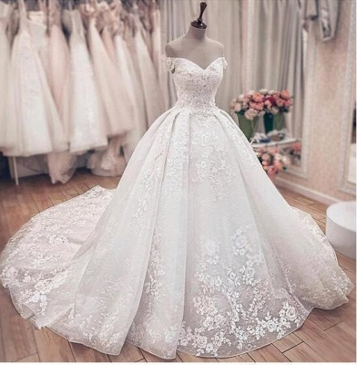 Princess Off The Shoulder Sweetheart  Applique Puffy Ball Gown Wedding Dresses_4