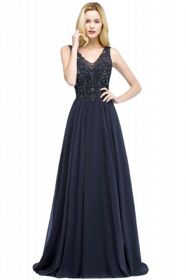 Straps V-neck A-line Simple Formal Gown for Prom And Bridesmaid