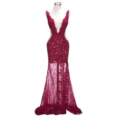 Sexy Burgundy Lace Evening Gowns | Side Split Mermaid Prom Dresses SP0386_4