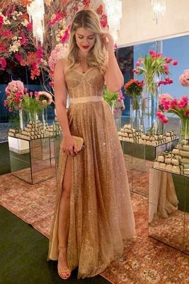 Modern Strapless Floor Length Belted Prom Dresses with Side Slit | Long Sparkly Evening Dresses_1