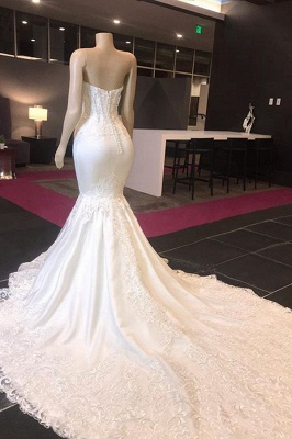 Sexy Sweetheart Applique Lace Fitted Mermaid Wedding Dress_3