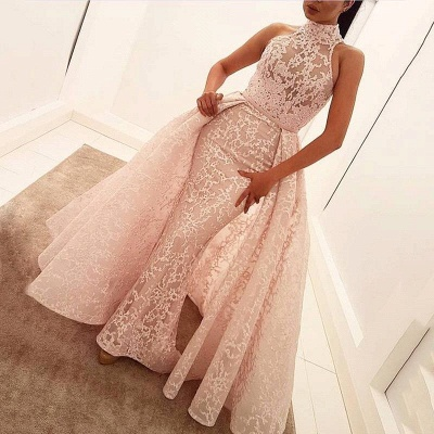 Illusion Overskirt Sheath Popular Unique High-Neck Sleeveless Puffy Lace Prom Dress_2