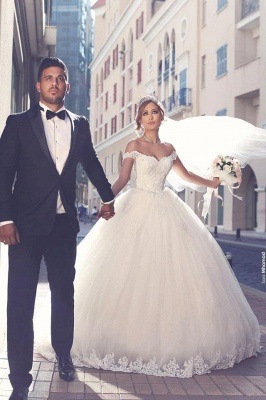 Amazing Lace Tulle Off-the-shoulder Appliques Puffy Wedding Dresses_2