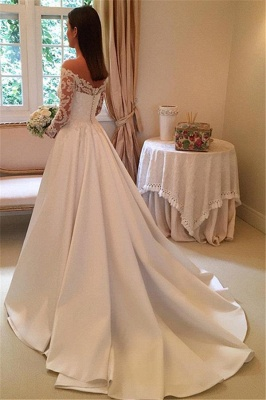 Off-the-Shoulder Newest A-Line Detachable-Train Long-Sleeves Wedding Dresses_3