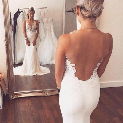 Sheer Back Appliques Classic Mermaid Wedding Dresses with Court Train_3