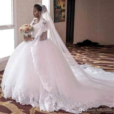 Gorgeous Tulle Cap Sleeve Lace Appliques Long Ball Gown Wedding Dress_6