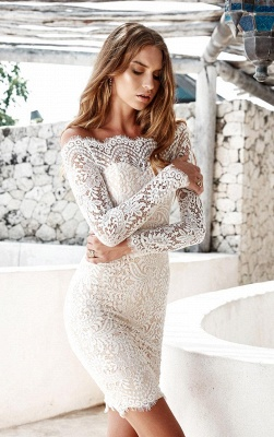 Long-Sleeve Short Simple Cocktail White Mermaid Party Dresses_3