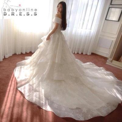 Glamorous Off-the-Shoulder Floor Length Ruffles Princess Lace Wedding Dresses_4