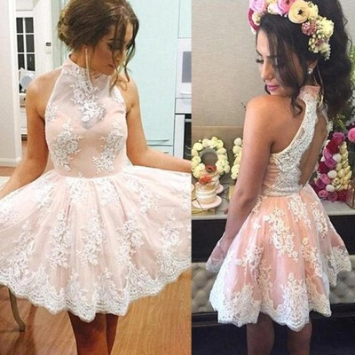 Cute Sleeveless Pink Lace Halter Neck Short Homecoming Dress_5