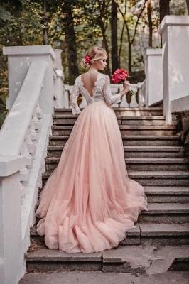 Elegant Pink Long Sleeves V-Neck Lace Tulle A-line Wedding Dresses_2