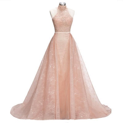 Illusion Overskirt Sheath Popular Unique High-Neck Sleeveless Puffy Lace Prom Dress_3
