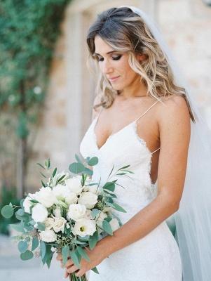 Gorgeous Sleeveless Long Lace Spaghetti Strap Backless Wedding Dress_2