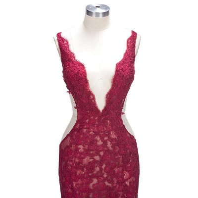 Sexy Burgundy Lace Evening Gowns | Side Split Mermaid Prom Dresses SP0386_6