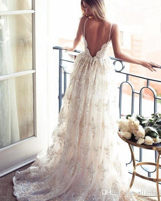 Spaghettis-Straps Backless Lace Sweetheart-Neck A-line Elegant Wedding Dresses_3