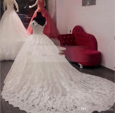 Gorgeous Ball Gown Wedding Dresses | Off-the-Shoulder Lace Appliques Bridal Gowns_3