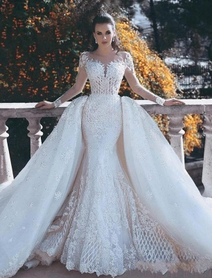 Vintage Long Lace Overskirts Mermaid Wedding Dresses_3