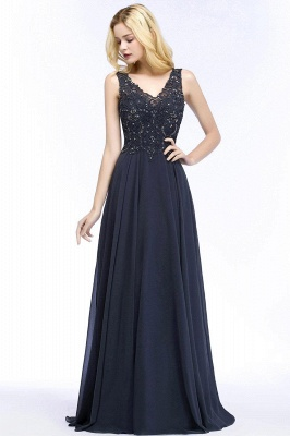Straps V-neck A-line Simple Formal Gown for Prom And Bridesmaid_51