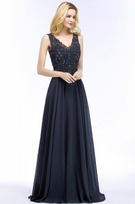 Straps V-neck A-line Simple Formal Gown for Prom And Bridesmaid_52