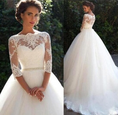 Fall Elegant Half Long Sleeves Bridal Ball Gown Lace Wedding Dresses_2