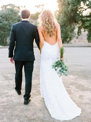 Gorgeous Sleeveless Long Lace Spaghetti Strap Backless Wedding Dress_3